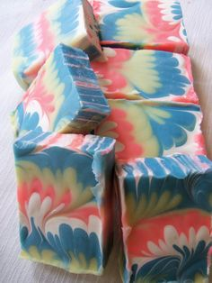 Peacock swirl cold process soaps with citrus esential oils