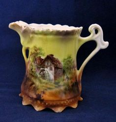 Hard-to-Find-RS-Prussia-Porcelain-China-Mill-Scene-Red-Mark-Creamer