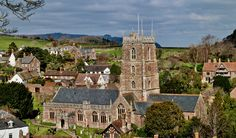 St George's Church, Dunster, Somerset, photographed from the castle.