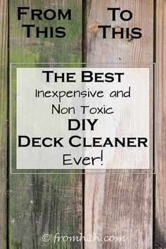 Looking for an easy and inexpensive way to wash your deck? This oxygen bleach homemade deck cleaner works really well and is non-toxic.it won't harm your plants, pets or kids. Cleaners Homemade, Diy Cleaners, Diy Cleaning Products, Cleaning Solutions, Oxygen Bleach, Cleaning Wood, Cleaning Tips, Cleaning Supplies, Cleaning Checklist