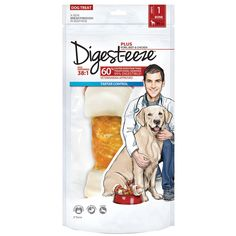 Digest-eeze Natural Beefhide Bone - Pork, Beef & Chicken - 8 in.    Digest-eeze Chews are naturally processed to provide maximum digestibility! These tasty treats were developed by leading vets and food scientists with your dog's health in mind. Digest-eeze are proven to dissolve 60% faster than other similar treats and are 99…