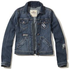 Hollister Patch Denim Jacket (220 AED) ❤ liked on Polyvore featuring outerwear, jackets, medium wash, blue jean jacket, patched denim jacket, blue jackets, hollister co jackets and patched jean jacket