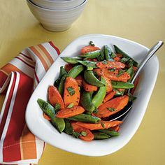 Roasted Carrots and Snap Peas | MyRecipes.com #myplate #vegetable