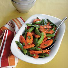 Roasted Carrots and Snap Peas   MyRecipes.com #myplate #vegetable