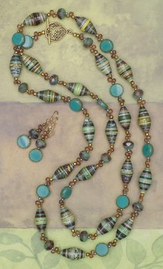 Teal and Turquoise Paper Bead Necklace and Earrings Set