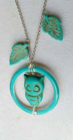 Turquoise Leaves and Stone Owl Necklace by VintageMemoryJewelry, $32.00