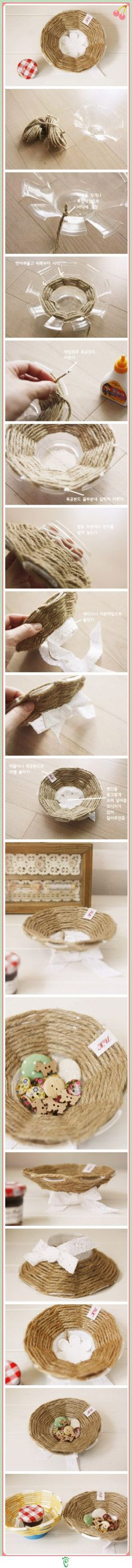 DIY Plastic Cup Rope Bowl