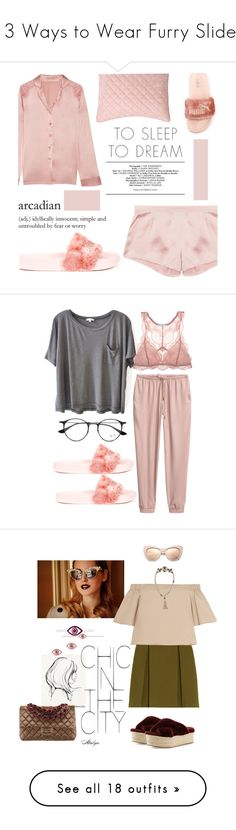 """""""13 Ways to Wear Furry Slides"""" by polyvore-editorial ❤ liked on Polyvore featuring waystowear, furryslides, Puma, I.D. SARRIERI, Pottery Barn, Pink, silk, pajamastyle, Clu and Eberjey"""