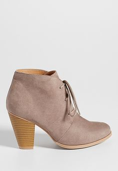 Daphne faux suede heeled ankle bootie in light gray | maurices