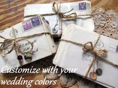 Three (3) Customized Bundles of Antique Letters from the 1940s : Vintage Shabby Chic Wedding Decor Photo Shoot Prop