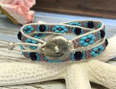 Southwestern Wrap Bracelet, Double Wrap Bracelet, Turquoise, Purple, White Leather Wrap, Leather Jewelry, Spring, Summer, Super Duo Wrap by SunsetSouthPaw on Etsy