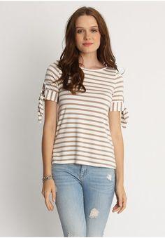 Newport Bay Stripe Knit Top in Coco  at shopruche.com