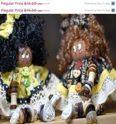 African American button dolls by sherlcrfts4U on Etsy, $15.00