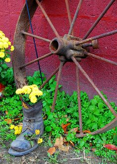 Wagon wheel and wild flowers | Flickr - Photo Sharing!