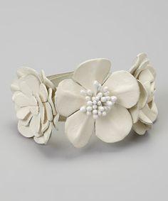 Red Water Designs White Leather Flower Bracelet by Red Water Designs #zulily #zulilyfinds