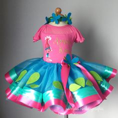 Poppy Trolls tutu outfit/costume with headband