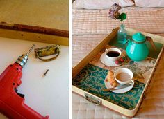 Vassoio per la colazione creato con il riciclo delle valigie vintage #DIY #suitcase #vintage #breakfast