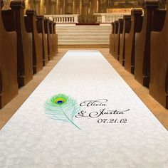 Personalized Peacock Feather  Aisle Runner