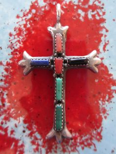 Vintage Zuni Sterling Silver Cross Turquoise Onyx by PGSCoins, $125.00