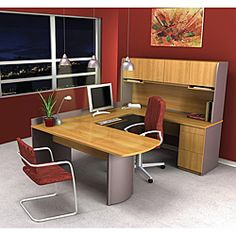 Bestar Executive U-Shape Wood Office Set with Hutch in Cappuccino Cherry U Shaped Office Desk, Small Office Desk, Best Home Office Desk, Best Desk, Home Office Furniture Desk, Modern Furniture, Furniture Design, Rustic Furniture, Furniture Sets