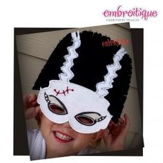July - Sept - Frankenstein and Bride of Frankenstein ITH Mask Set on sale now at Embroitique!