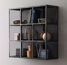 RH Baby & Child's Industrial Wire 9 Cube Shelf:Wire cubbies lend a warehouse aesthetic to the bedroom or playroom while helping contain clutter and keeping things organized.