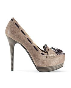 I have a pair almost like this, except they are black and have a more chunky heel. LOVE them!