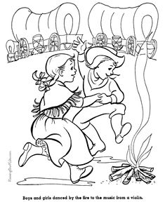 pics photos covered wagon coloring page