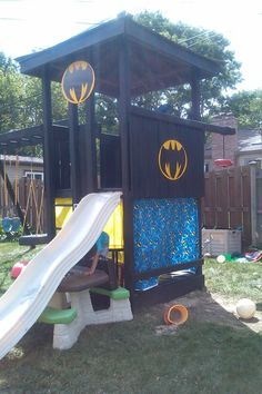 Playhouse transformed to batcave!