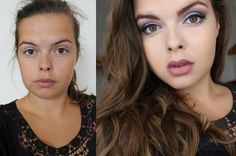 Before & After.  Purple eye Makeup