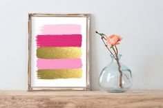Pink and Gold Paint Strokes Abstract Gold by MeganPrintsPrints