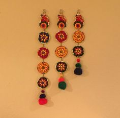 """Traditional Indian wall hanging """"toran"""" Made on foam sheet and felt, designed with pieces of clay and gemstone. Intricate and colorful! Housewarming Decorations, Diwali Decorations, Festival Decorations, Wedding Decorations, Indian Crafts, Indian Home Decor, Art N Craft, Craft Work, Diy And Crafts"""