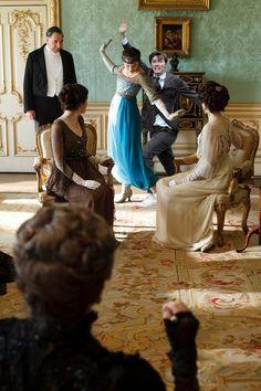 In Downton, spoiling Sybil's moment.