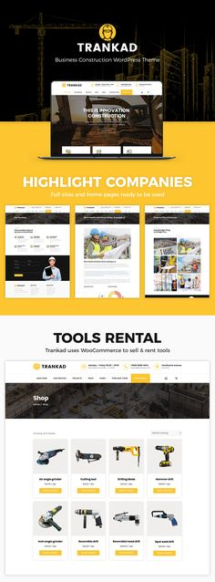 Buy Trankad - Construction WordPress Theme by modeltheme on ThemeForest. Trankad is the ideal WordPress Theme for Construction Businesses specialized on roads, buildings, megastructure cons. Construction Theme, Construction Business, Construction Services, Website Themes, Website Designs, Roofing Services, Seo Optimization, Creative Powerpoint Templates, Used Tools