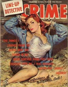 Line-Up Detective - October, 1951. Redhead pulp magazine cover