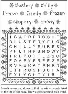 Winter Word Search Doverpublicationscom