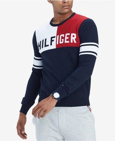Tommy Hilfiger Men's Bedford Colorblocked Logo Sweater, Created for Macy's Sueter Tommy Hilfiger, Tommy Hilfiger Outfit, Tommy Hilfiger Tshirts, Tennis Clothes, Tennis Outfits, Preppy Look, Mens Big And Tall, Pullover, Mens Clothing Styles