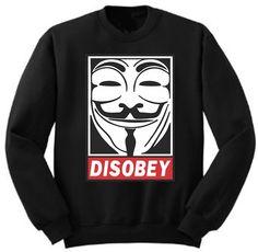 Disobey Anynomous V for Vendetta Revolutionary by BlackoWhite, $19.99