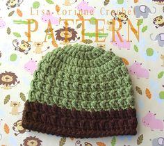Boy Textured Hat - Easy Crochet PATTERN PDF - Striped Beanie Cap - Instant Download - Infant - Baby - Toddler - Modern Crochet