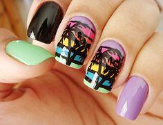 Coachella manicura de palmeras