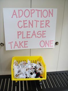 """Adorable idea for a dog or puppy themed kids birthday party. Set up an """"adoption center"""" and let each kid choose a pet to name and take home."""