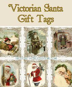 Printable Victorian Santa Christmas Gift Tags from HousePunkery Christmas Gift Tags, Santa Christmas, Christmas Crafts, Christmas Decorations, Victorian Christmas, Place Cards, Printables, Diy Crafts, Handmade