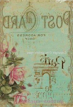 ephemera, Paris postcard with the perfect colors Images Vintage, Art Vintage, Photo Vintage, Vintage Paris, Vintage Pictures, Shabby Vintage, Vintage Style, Vintage Labels, Vintage Ephemera