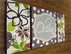 large modern nursery art- personalized triptych painting- name monogram initials-M2M decor- purple green flowers.