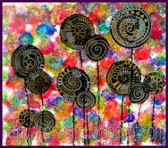 Kid Styles 358810295284632612 - Kids Artists: Lollipop trees, in the style of Hundertwasser. I like the styling of this Hundertwasser project using sponges for the backgrounsd, black paper, and metallic markers. Source by moniquejullien Friedensreich Hundertwasser, Collaborative Art Projects For Kids, Classe D'art, Lollipop Tree, Art Du Collage, Artist Project, Ecole Art, Spring Art, Preschool Art