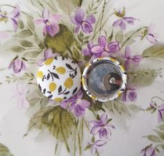Stud Earrings / Fabric Covered Button Earrings / by ManhattanHippy