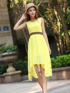 A-line Round Neck Knee Length Chiffon Summer Dresses : KissChic ...