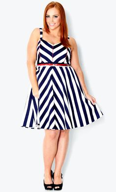navy white chevron dress red belt