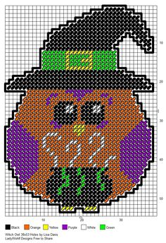 Witch Owl made pattern Plastic Canvas Coasters, Plastic Canvas Ornaments, Plastic Canvas Crafts, Plastic Canvas Patterns, Halloween Canvas, Halloween Prints, Halloween Projects, Halloween Kids, Owl Patterns