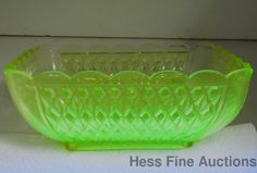 Antique Vaseline Glass Quilted Diamond Motif Scallop Large Square Bowl Dish.... One of my favs is vaseline glass....